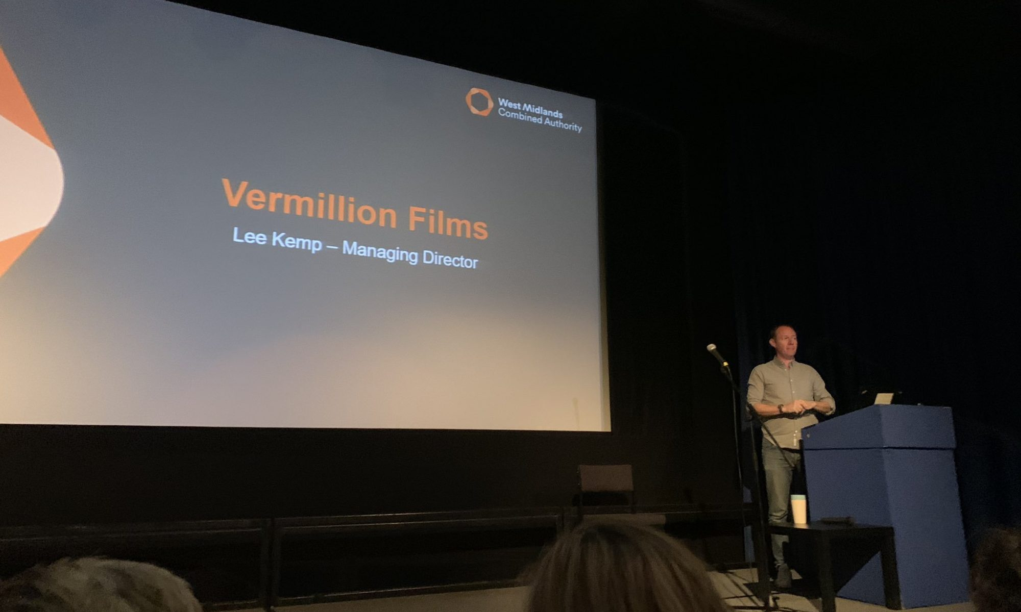 Showing Vermillion MD Lee Kemp doing a keynote at the launch of the DCMS Creative Scaleup event