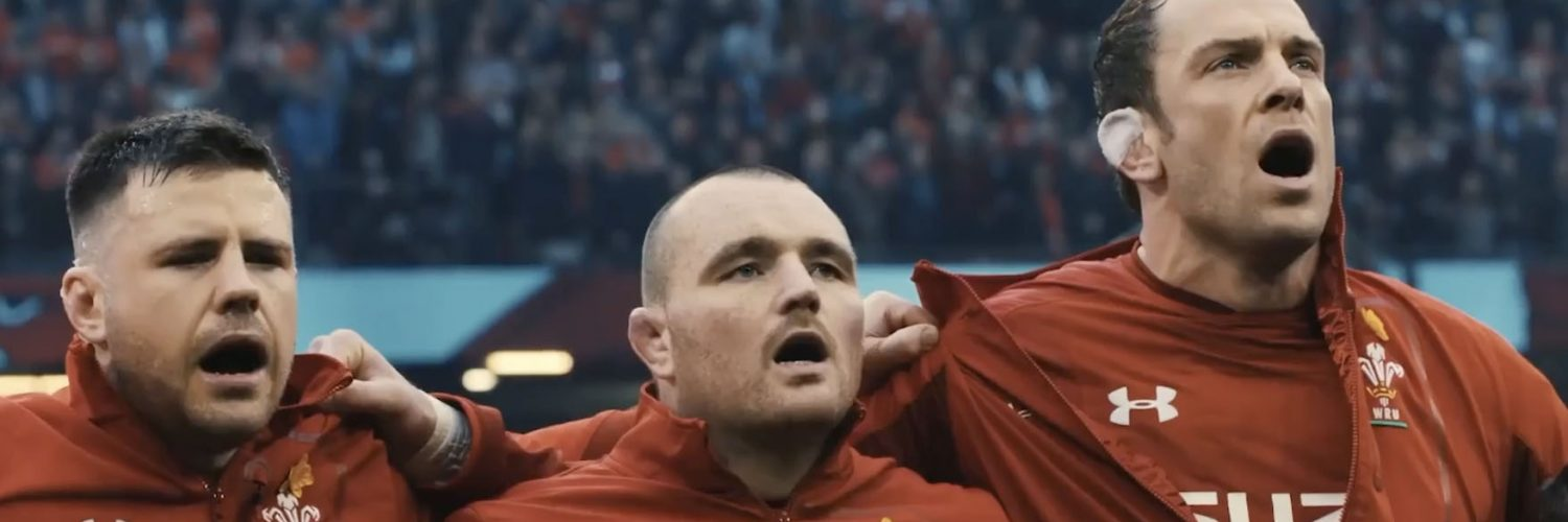 Welsh Rugby Players singing the welsh national anthem before a match
